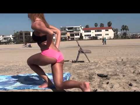 HOT Model does Butt & Leg Workout at Beach - Fitness Motivation Center