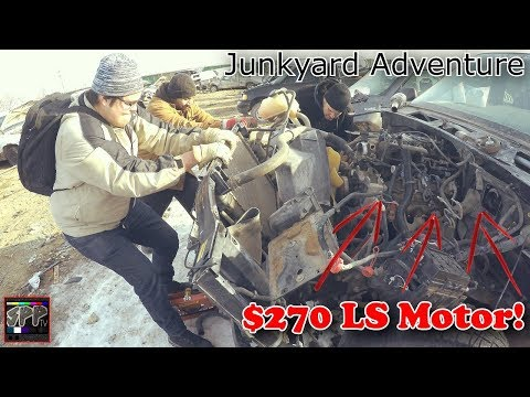 TEARING UP CAR GRAVEYARD FOR CHEAP LS SWAP PARTS | Junkyard Adventure (meme edition)