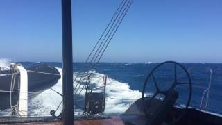 Fast sailing catamaran.
