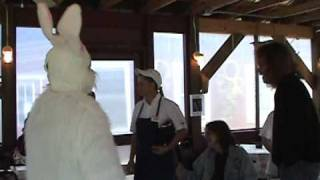 easter bunny dancing at b b q garden cafe in cosby tennessee