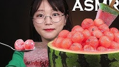 ASMR 아임요 팝핑보바 수박 빙수 먹방 WATERMELON POPPING BOBA ICE FLAKE EATING SOUNDS MUKBANG
