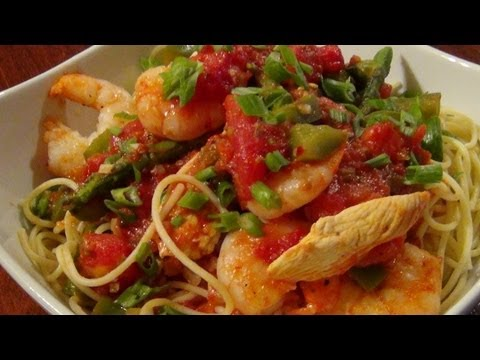 Chicken And Shrimp Vermicelli With ( Asparagus )