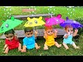 Rain Rain Go Away Playing with Umbrellas