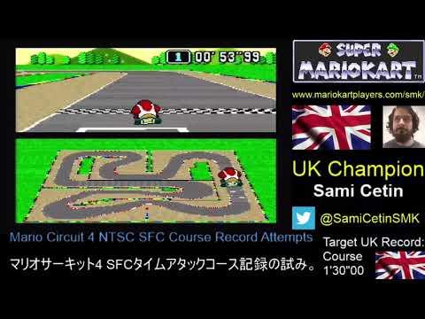 Super Mario Kart SNES Time Trial NTSC Mario Circuit 4 Course:  1'29