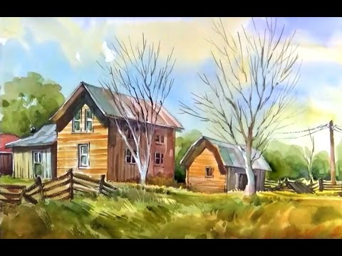 Watercolor Painting the Old Houses on the Farm