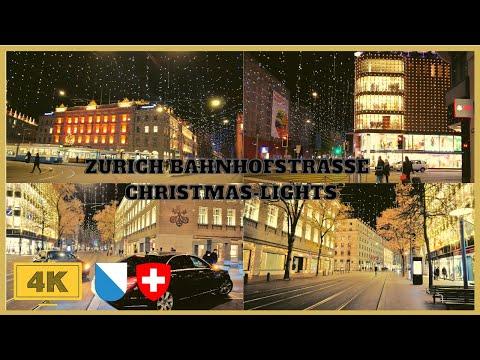 4K Zurich City Night Walk - Christmas Lights And Night Shopping Bahnhofstrasse | Zurich Lucy |