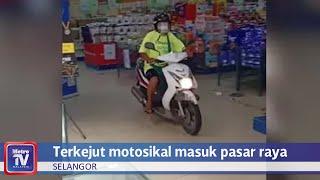 Kecoh lelaki rempuh, tunggang motosikal dalam pasar raya
