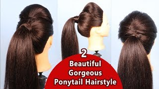2 BEAUTIFUL GORGEOUS Ponytail Hairstyle   Easy Everyday Elegant Ponytail Hairstyle   Fancy Ponytail