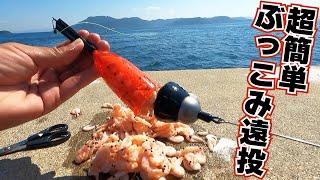 超簡単!防波堤からウキを付けず餌を入れぶっ込むだけですぐ釣れる!【堤防は大物祭り】