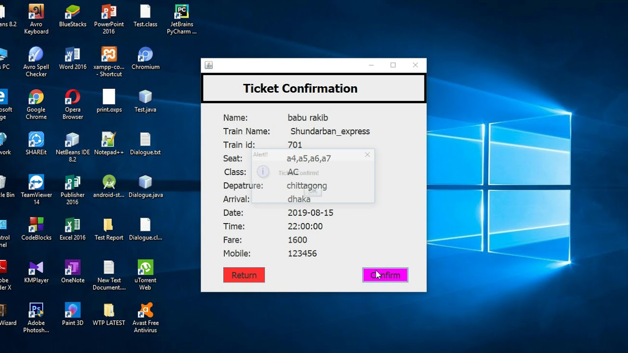 Project: Train Ticket Booking System using java NetBeans