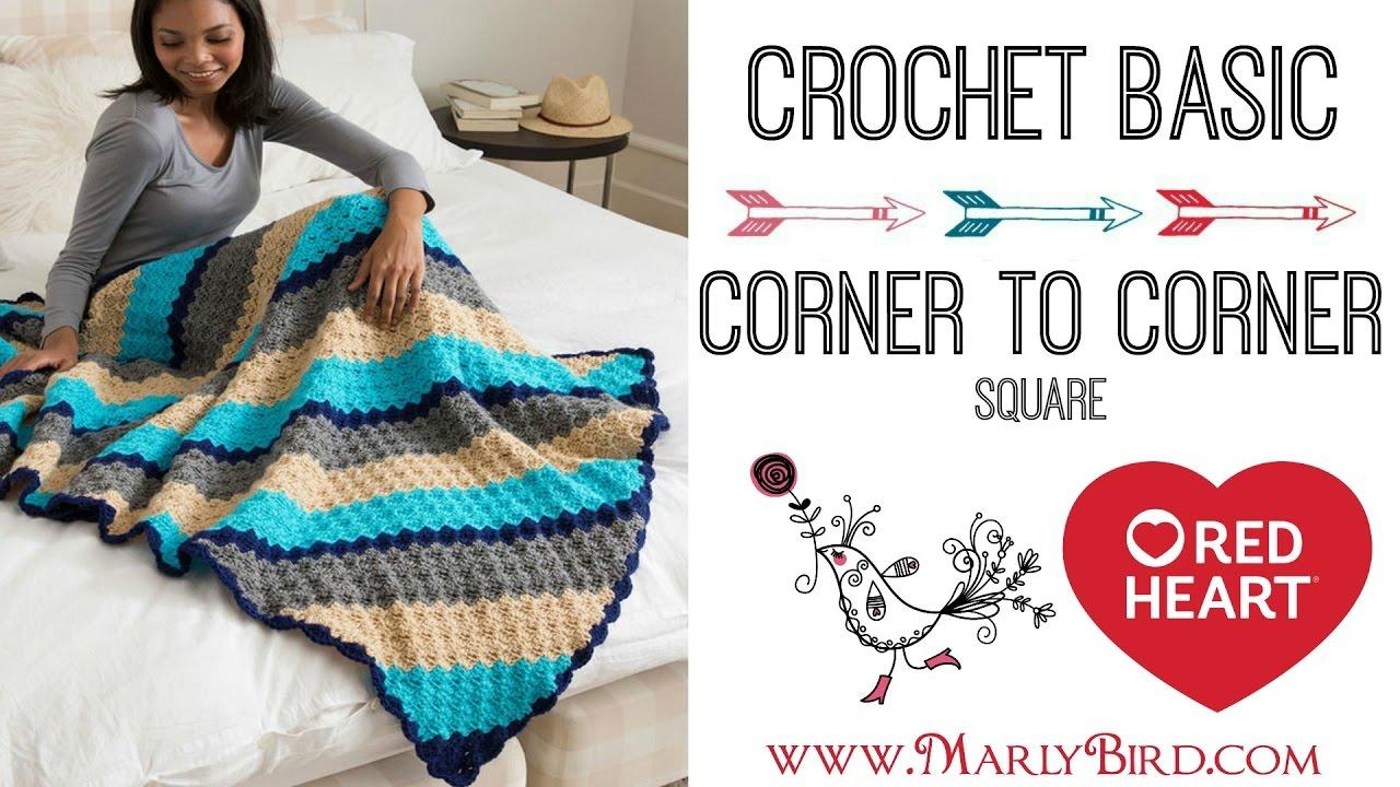 Crochet Corner to Corner Square in Half Double Crochet