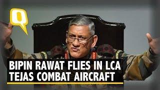Army Chief Bipin Rawat Flies In LCA Tejas Combat Aircraft in Bengaluru