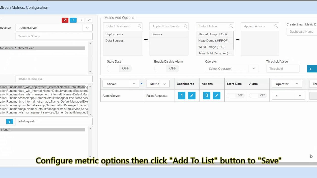 How to Add JMX MBean Objects (metrics) to Dashboards via WLSDM MBean  Browser?