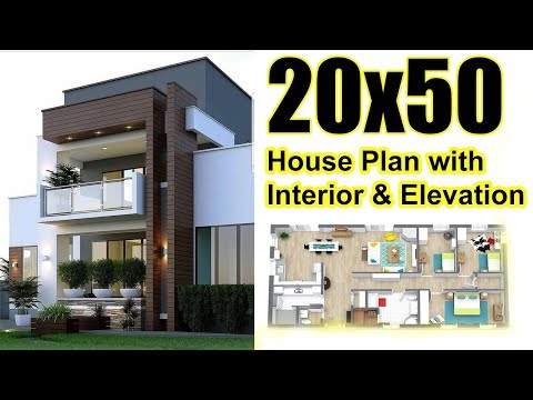 20x50 House plan with interior & Elevation (complete view)