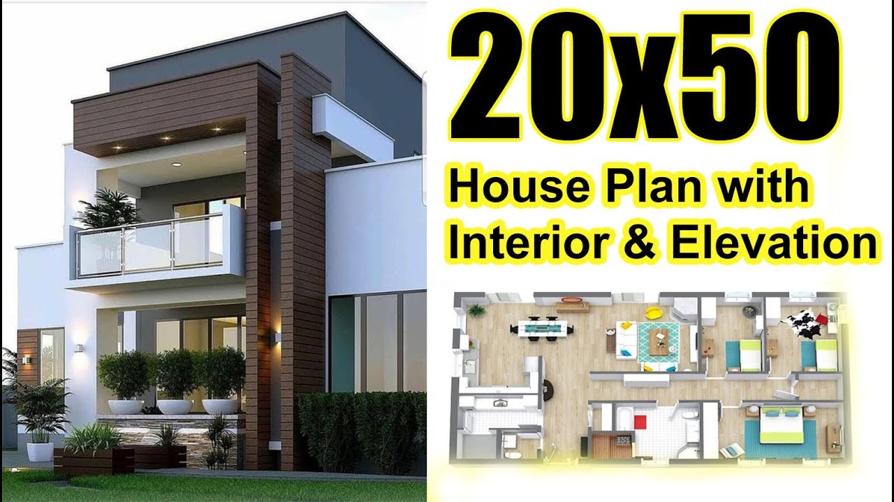 20x50 house plan with interior elevation complete view