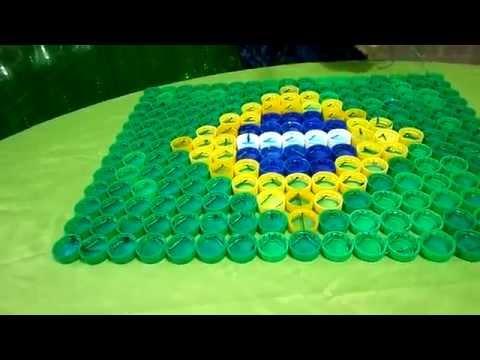 COMO FAZER  BANDEIRA DO BRASIL DE TAMPAS PET. DECORATION WOLD CUP