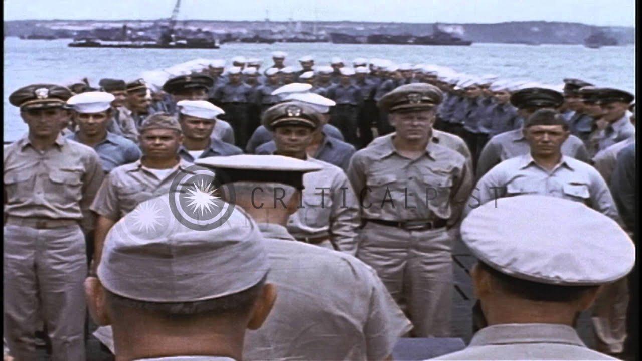 United States Navy Fleet Admiral Chester William Nimitz Arrives Aboard A SubmarinHD Stock Footage