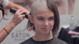 3 girls getting their headshaved for donation