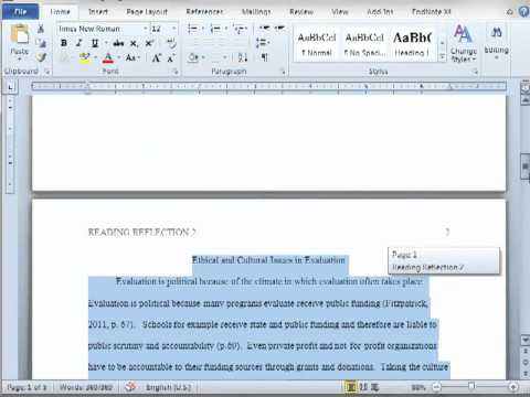 APA Formatting in MS Word