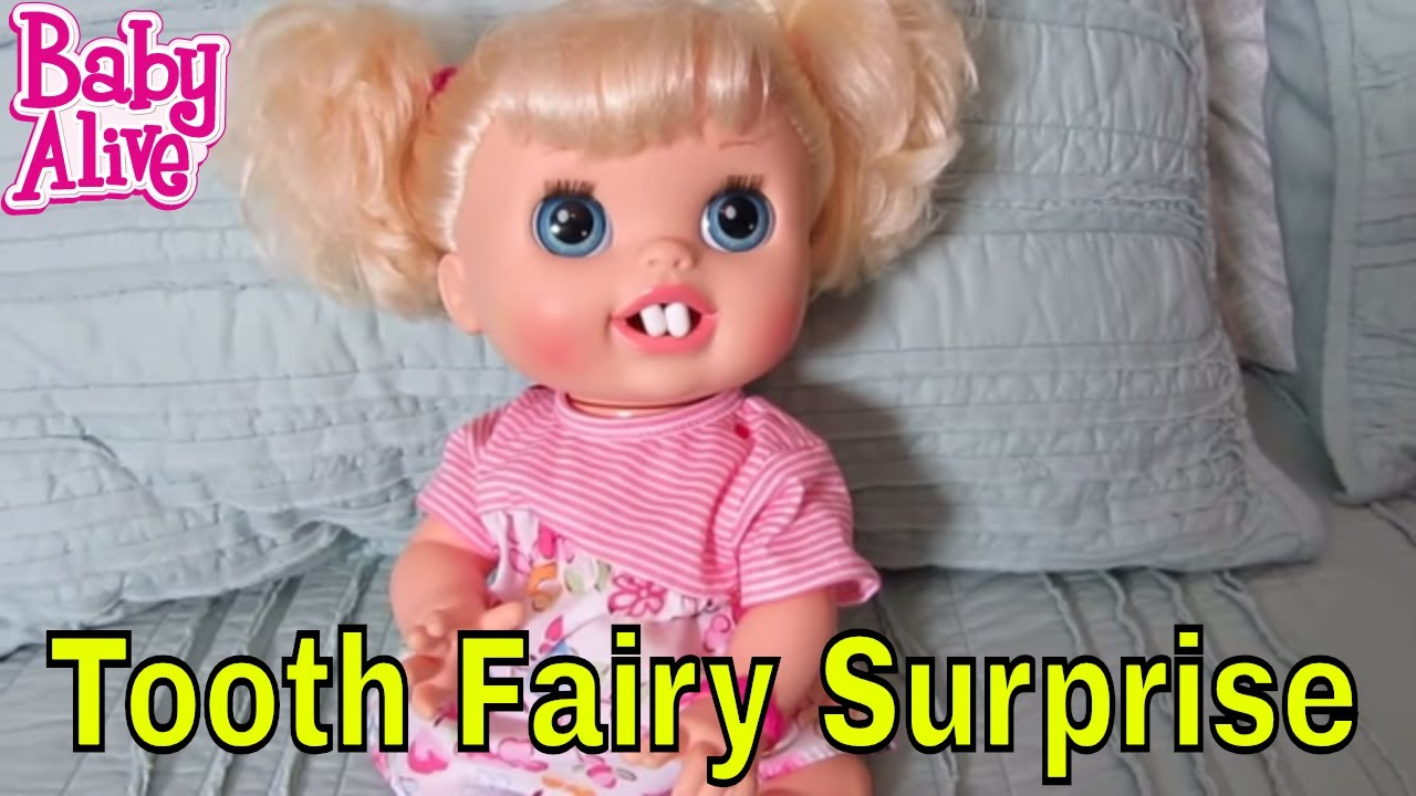 baby alive real surprises doll loses tooth  tooth fairy surprise