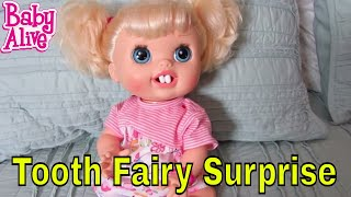 Baby Alive Real Surprises Doll has new teeth + loses 1 tooth + Tooth Fairy Surprise!