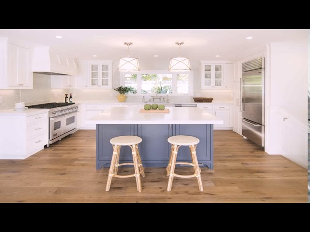 White Kitchen Cabinets With Blue Island Youtube