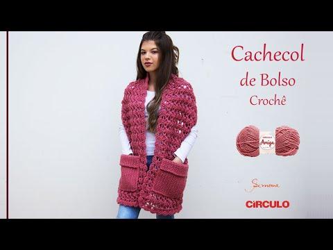 Cachecol de Bolso em Crochê Prof. Simone Eleotério