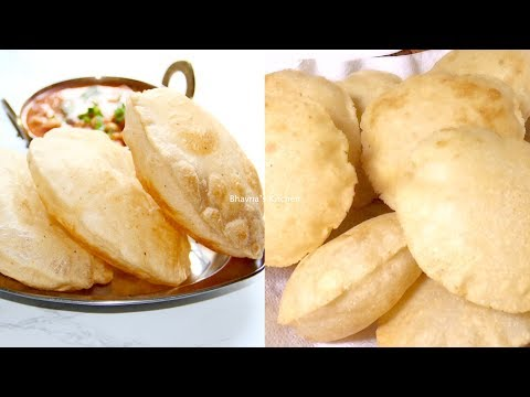 How to make Instant Bhature for Chole Video Recipe   Puffed Puris Bhavna's Kitchen