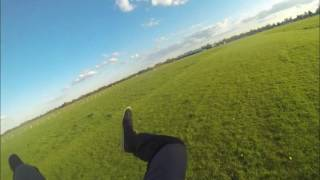 Aggressive toggle turn - Parachute spin from 850ft all the way to the ground.