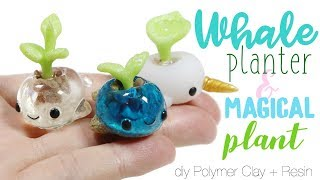 How to DIY Cute Whale Planter Pot + Magical Plant Sprout Polymer Clay Resin Tutorial
