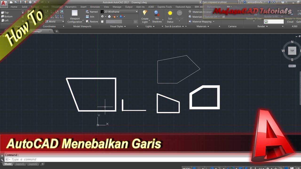 Cara Menebalkan Garis Polyline Di Autocad Bahasa Indonesia Youtube