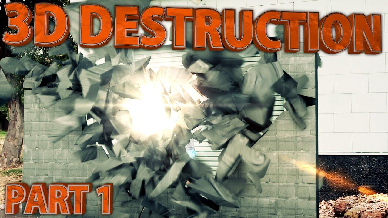 3D Destruction Adobe After Effects & Cinema 4D Tutorial 1/3