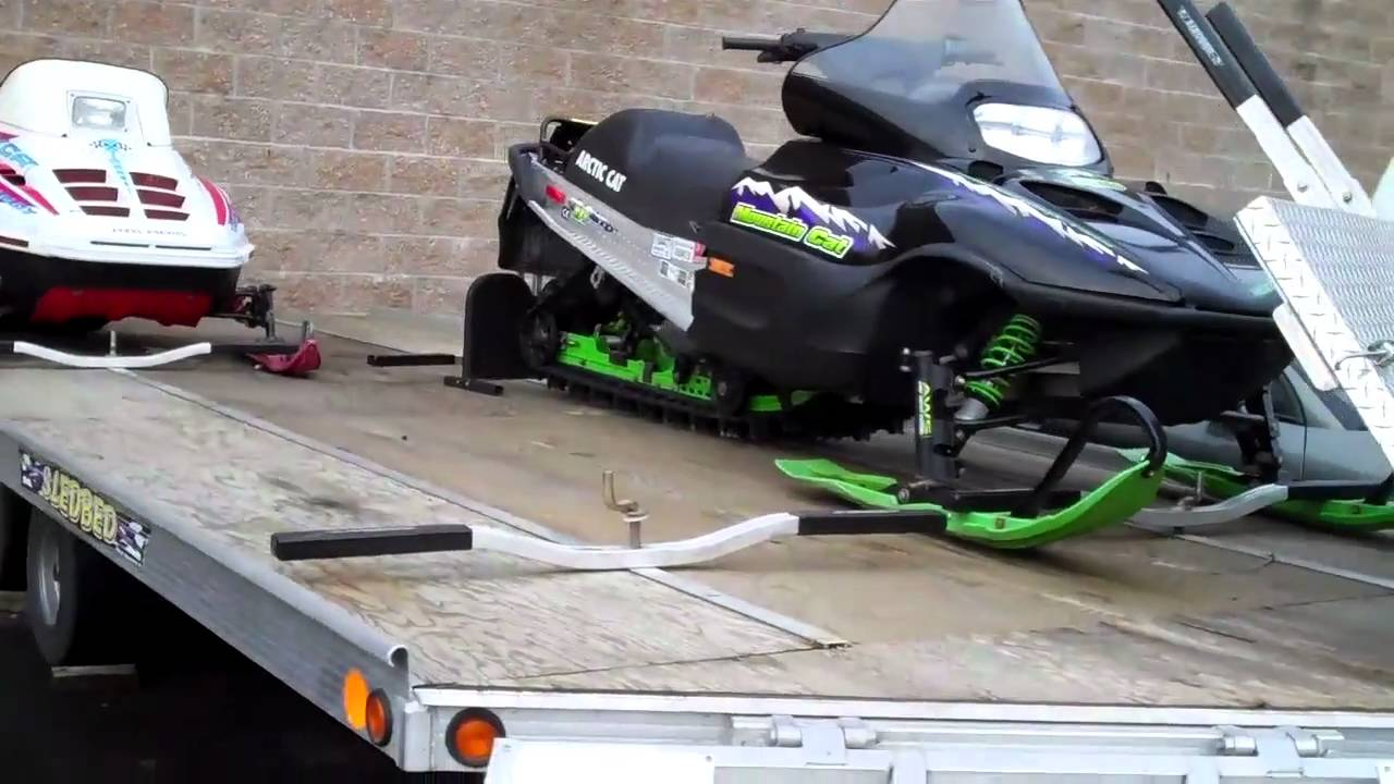 2003 sledbed snowmobile trailer - youtube