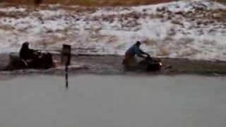 arctic cat 500 and honda recon through frozen pond