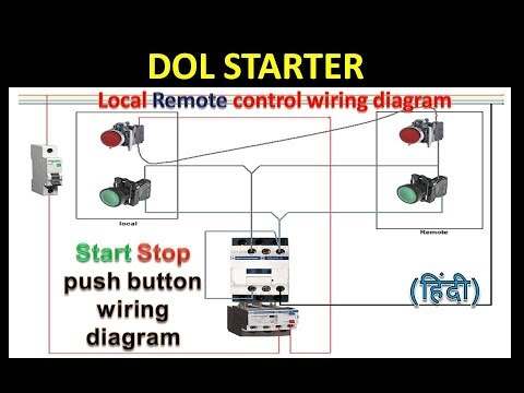 dol starter control circuit | local remote multiple point control wiring  diagram in hindi - youtube