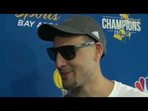 Klay Thompson talks with Warriors reporter Rosalyn Gold Onwude during Thursday