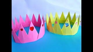 оригами.Как сделать корону из бумаги.DIY Corona de papel fácil.Origami paper Crown