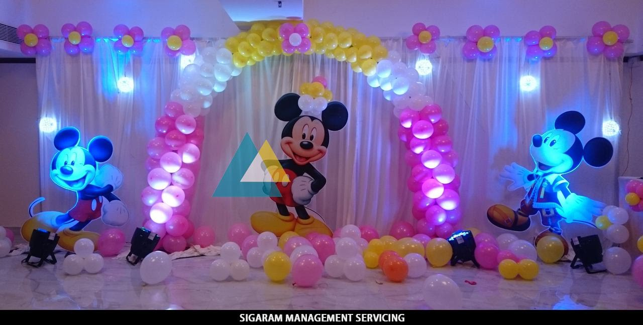 mickey mouse themed birthday decoration le royal park hotel pondicherry youtube