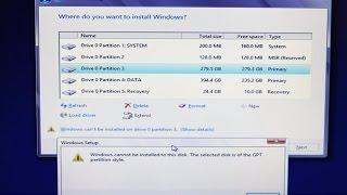 Solucion No Se Puede Instalar Windows En Este Disco El Disco Seleccionado Tiene El Estilo GPT 2019