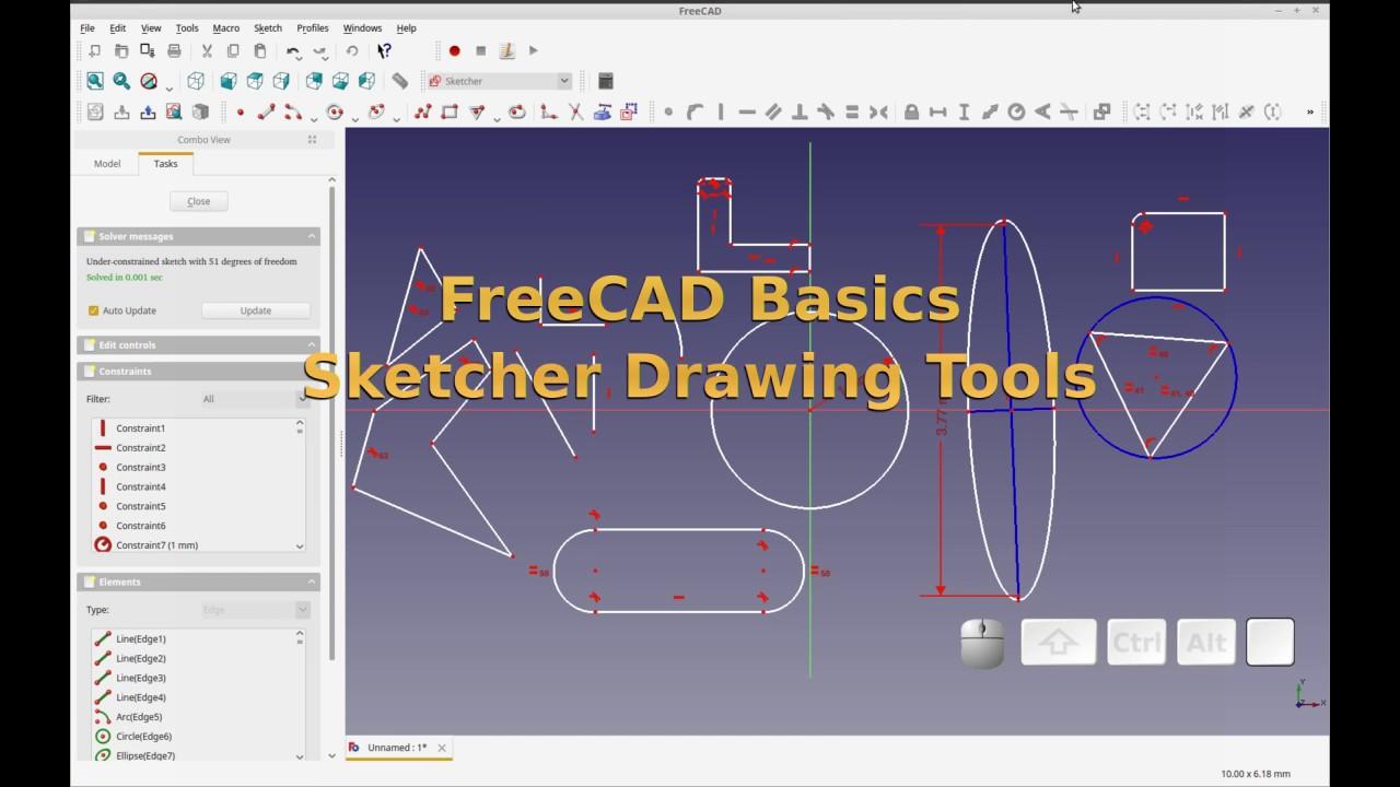 FreeCAD - Basics - Using Sketcher Workbench Drawing Tools