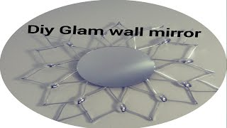 DIY INEXPENSIVE GLAM WALL DECOR STARBURST MIRROR.DOLLAR TREE SILVER SPOON WALL DECOR/ BLING WALL ART