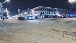 Смотреть видео В Санкт Петербурге сегодня снегопад дрифт сноуборд и  Bmw 1m онлайн