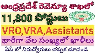 AP 11,800 VRO,VRA,Assistant Posts in Revenue Department | AP Government Jobs | job search