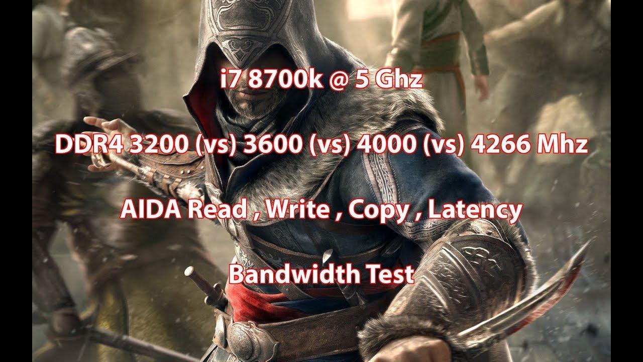 DDR4 3200Mhz (vs) 3600Mhz (vs) 4000Mhz (vs) 4266Mhz , i7 8700k @ 5Ghz ,  AIDA Bandwidth Test