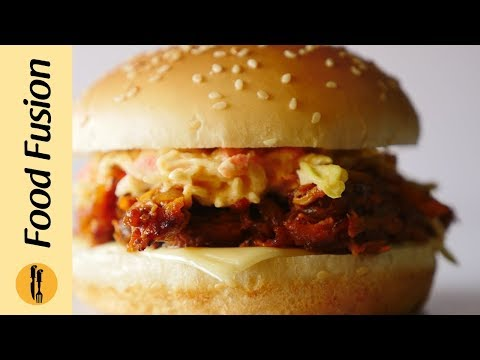 Pulled Chicken Burger with Coleslaw  Recipe By Food Fusion