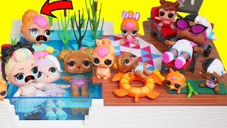 LOL Surprise Dolls Playmobil Pool Party and Fake Barbies Dress | Toy Egg Videos