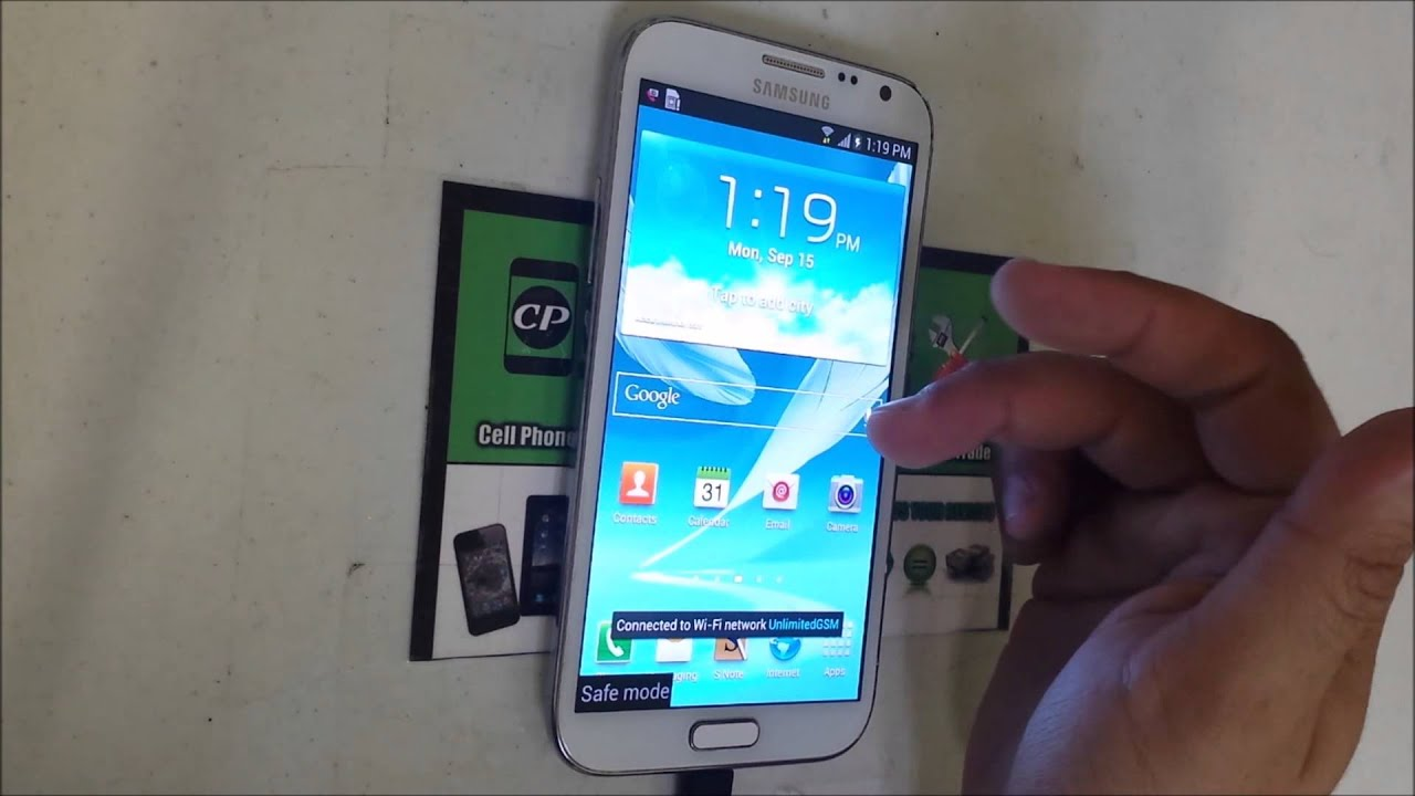 How to get Samsung Galaxy Note 2 IN & OUT of safe mode - YouTube