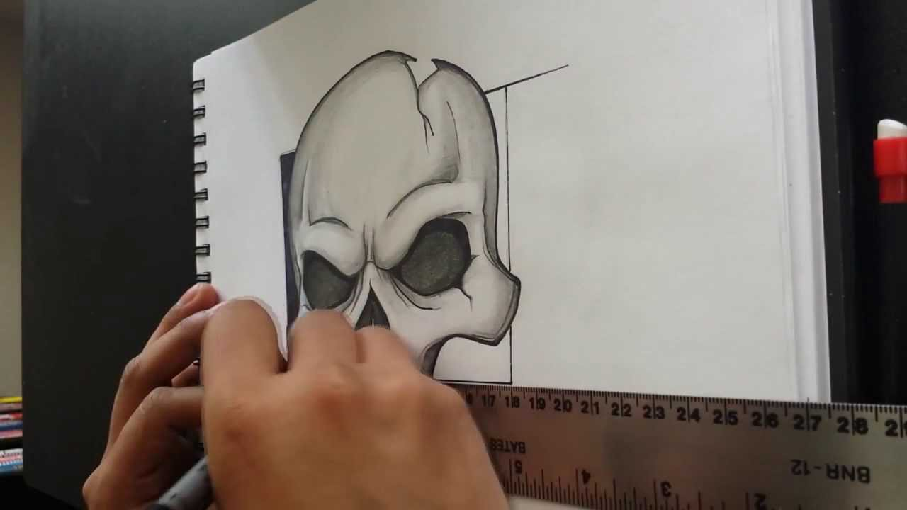 It is a picture of Sizzling Vampire Skull Drawing