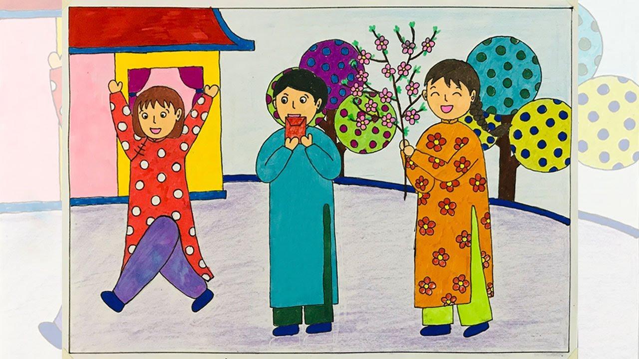Vẽ tranh ngày tết   Vẽ tranh đề tài ngày tết và mùa xuân   Vẽ tranh tết   Bao quát những tài liệu nói về vẽ tranh đề tài ngày tết và mùa xuân chính xác nhất