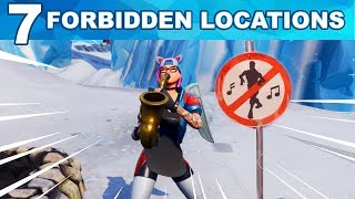 ALL 7 LOCATIONS - Dance in different Forbidden Locations - Fortnite Week 1 Challenges Season 7